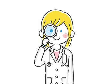 虫眼鏡で見る白人女医のイラスト