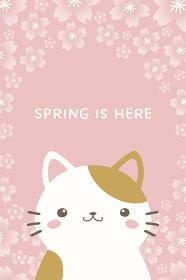 かわいいネコと桜の縦型バナー、背景素材
