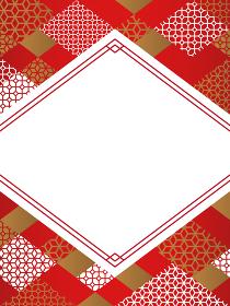 中国風・和風 幾何学模様のフレーム素材/縦長