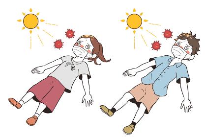 熱中症と新型コロナウイルスで目を回す マスク