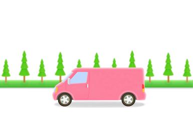 ピンクのトラックと街路樹
