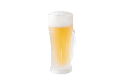 ジョッキに注がれたビールの切り抜きイメージ(正面)