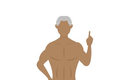 腰に手を当てて指をさすボディビルダーのシニア男性