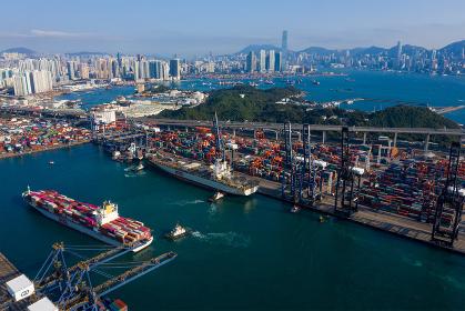 Kwai Tsing, Hong Kong, 12 February 2019:- Top view of Kwai Tsing Container Terminals