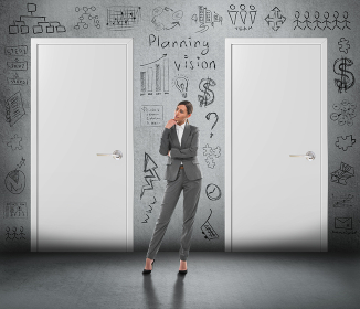 Concept of businesswoman planning her business strategy and choosing the right option