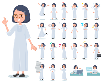 flat type White dress women_emotion