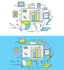 Thin lines icons stand with charts and parameters. Business concept of analytics. Analysis big data seo. Can be used for web banners, marketing and promotional materials, presentation templates