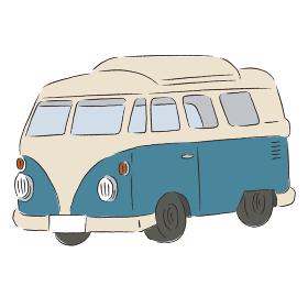 アウトドア キャンピングカー 車 イラスト 手描き 水彩 筆