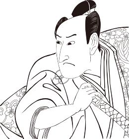 浮世絵 歌舞伎役者 その3 白黒