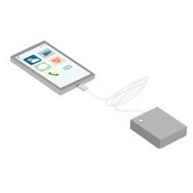 スマートフォンと充電バッテリのイラスト