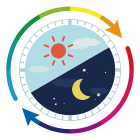 朝と夜 24時間のイメージイラスト(虹色矢印)
