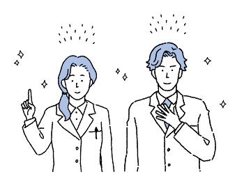 シンプルなタッチ 男女の医師二人のイラスト
