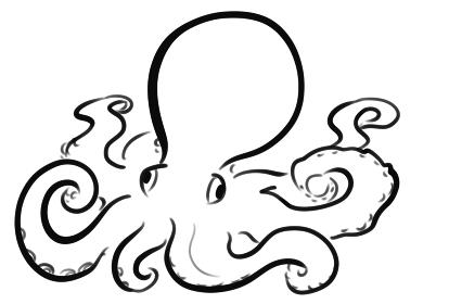 タコのシンプルな線画イラスト