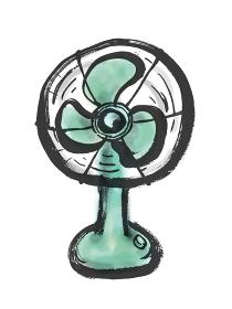 昭和レトロな扇風機の手描きイラスト