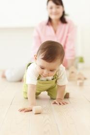 リビングでハイハイをする赤ちゃん