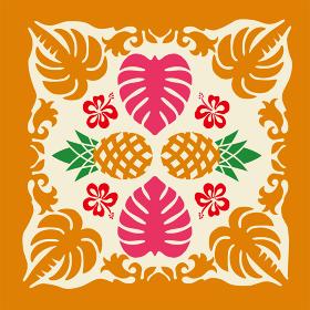 ハワイアンキルトのパターン パイナップルとヤシの木モンステラ背景イラスト夏のイメージ ベクターデータ