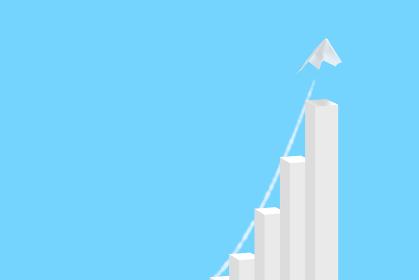 急成長する棒グラフと紙飛行機 2