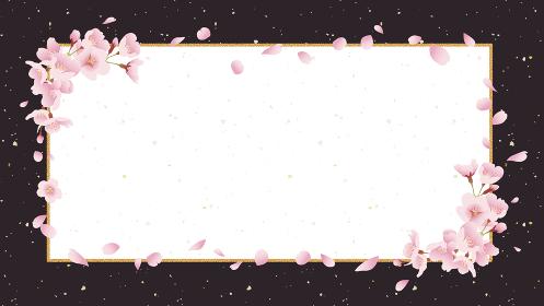 桜の背景素材 タイトル枠 煌びやか、ゴージャス(黒背景 16:9比率)