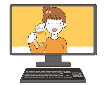オンライン飲み会 モニター ビール ほろ酔いの女性