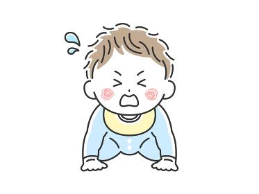 ハイハイをしている泣いている赤ちゃんのイラスト