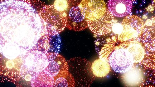 花火 打ち上げ花火 打上花火 祭 フェスティバル 3D イラスト CG 背景 バックグラウンド