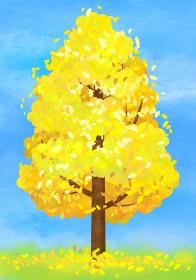 秋の青空と1本の大きなイチョウ