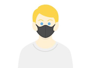 黒マスクをした白人男性のイラスト
