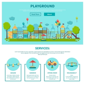 Outdoor Playground Illustration. Color illustration web site page about outdoor games showing different playground services seesaw sandbox spring rider roundabout vector illustration