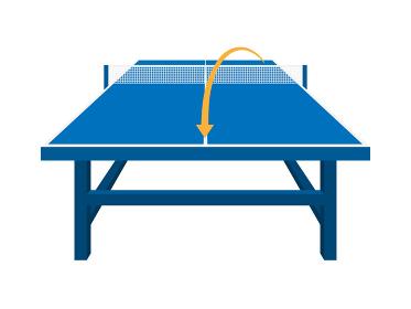 卓球台のコースを指示したイラスト