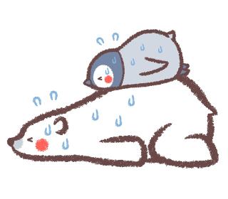 熱中症のシロクマとペンギンヒナ