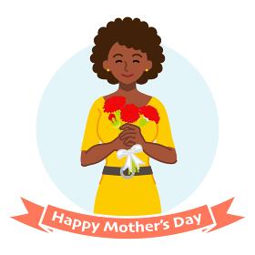 カーネーションを持って微笑む母親、アフリカ系 - 母の日コンセプトイラスト