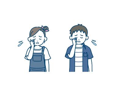 泣く男の子と女の子のイラスト 泣き虫 悲しい 子供 小学生 低学年