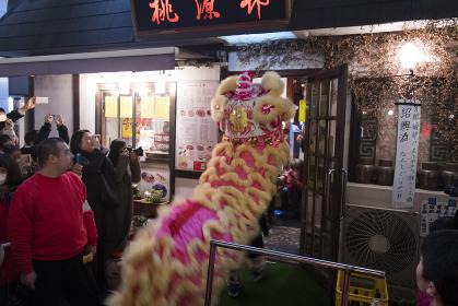 春節の中華街 獅子舞