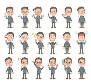 スーツ中年男性の表情イラストセット