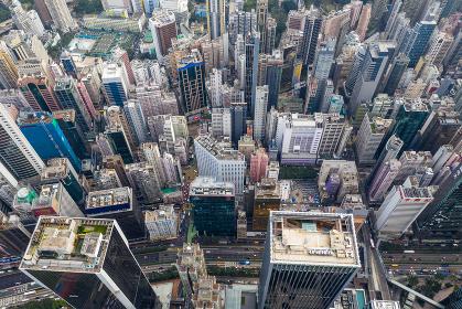 Causeway Bay, Hong Kong 22 February 2019: Top down view of Hong Kong city