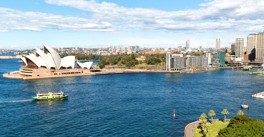 AUSTRALIA,SYDNEY-CIRCA  AUGUST 2017-opera house  and the boat