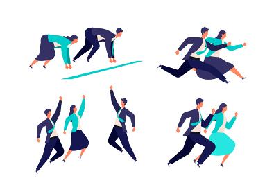 躍動感あふれる男女のビジネスマンのイラスト
