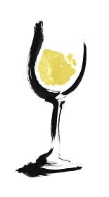 手描きのグラスに入った白ワインのイラスト素材