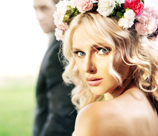 Beautiful young bride with her husband