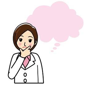 イラスト素材 疑問戸惑いを感じる白衣の女医 若い女性のイラスト吹き出し白バック