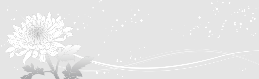 上品な菊の花のバナーイラスト(グレイ)