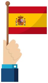 手持ち国旗イラスト ( 愛国心・イベント・お祝い・デモ ) / スペイン