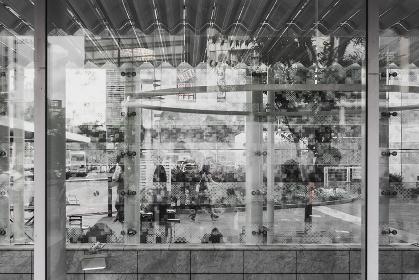 対向者との目隠しの為に作られた曇り模様のあるガラス壁