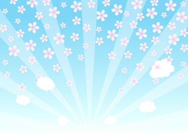 空に桜 集中線