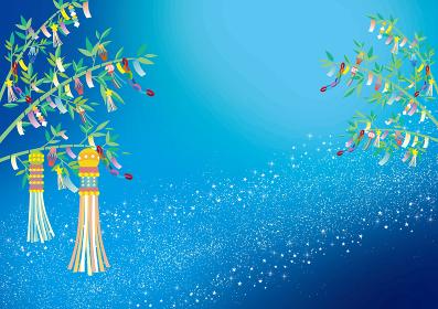 七夕:星空 星 夜空 背景 七夕飾り フレーム 枠 笹 短冊 願い事 飾り 折り紙
