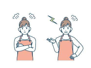 主婦 怒る 激怒 叱る 表情 ポーズ 女性 上半身 イラスト素材