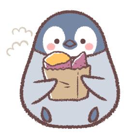 焼き芋を持つペンギンヒナ