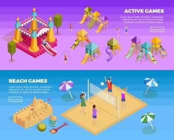 Playground Banner Set. Two horizontal playground banner set with active games and beach games descriptions vector illustration