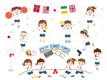 かわいい運動会子供たちのイラスト