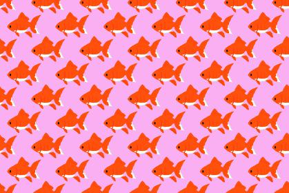 金魚が泳いでいるかわいい夏のシームレスの背景イラスト